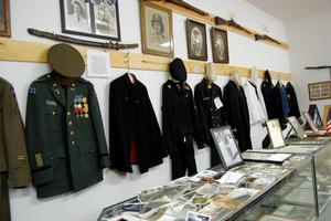 Photo of soldier uniforms having up in the Three Forks Historical Center in Beattyville, KY.